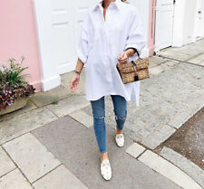Womens Boyfriend Style Button Oversized Shirt Dress Long Sleeve LooseFit Blouse