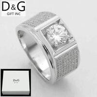 DG Men's 925 Sterling Silver,Eternity CZ Wedding Ring,7 8 9 10 11 12 13*Box