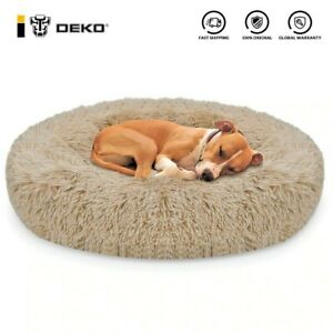 Calming Pets Bed for Dogs And Cats, Fluffy, Soft, Round Pillow Donut, Washable