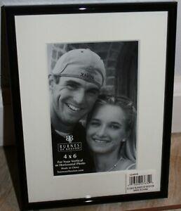 "Burnes Picture Frame 4x6"" photo 6.25x8.5"" black metal frame glass white mat NIB"