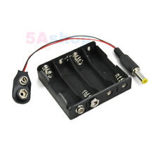 Hold 4 AA LR6 Battery Holder 6V Case With Snap Connector DC 2.1 5.5mm Power Plug