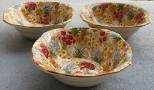 THREE Royal Winton Marguerite Floral Chintz Square Cereal Bowls