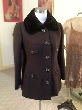 Vtg. Military Styled Detailed Genuine Fur Trimmed Jacket / Fabulous !