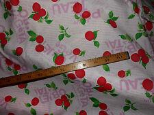 tela de algodón extensible cerises rosa/verde/blanco 100x140 cm