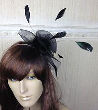 black netting feather hair headband fascinator millinery wedding hat ascot race
