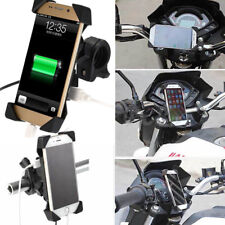 "Motorcycle Bike ATV 3.5-7"" Cell Phone GPS Mount Holder w/ USB Charger Handy"