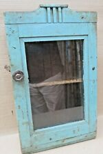 Vintage Wood Cabinet Curio Display showcase Original Blue solid back distress