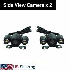 Pair Car Auto Side View Camera 2-LED Side Mirror Mount No Grid Line Mirror Image