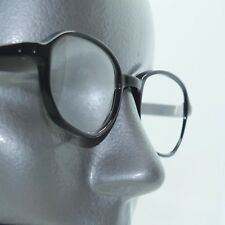 Reading Glasses Small Faceted Angled Oval Black Polished Frame +3.00 Lens
