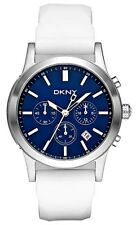 NEW DKNY WHITE BAND+BLUE DIAL CHRONOGRAPH WATCH-NY1476