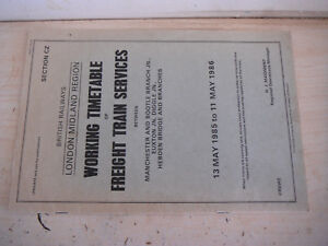 MANCHESTER BOOTLE EUXTON DIGGLE HEDBEN BR RAILWAY WORKING FREIGHT TIMETABLE 1985