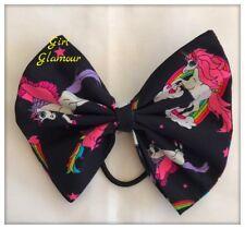 "5"" Hair Tie Bow - Black Unicorn Fabric - Ponytail Headband Elastic Band Dress"