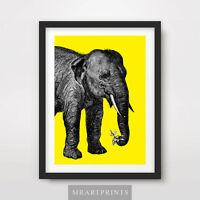 YELLOW ELEPHANT ART PRINT POSTER Animals Colour Colorful Pop Bright Illustration