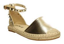 New Womens Flat Shoes Espadrilles Summer Beach Studded Sandal Ladies Black Pink