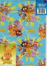 Moshi Monsters Gift Wrap Wrapping Paper 2 Sheets+Tag Kids Party (Pack of 6)