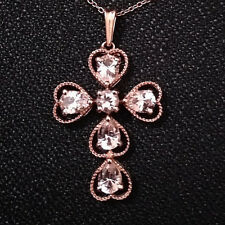 Valentine Gift 2 ct Morganite Cross Pendant Necklace Chain  Rose Gold Plated