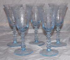 "5 Cambridge Glass Blue Apple Blossom #3130 8 oz. Water Goblets RARE 7 3/8"""