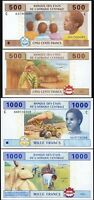 Central African States CHAD, 500 1000 Francs 2002, UNC, 2 PCS SET, P-606C P-607C
