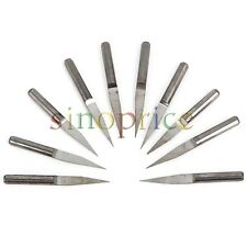"10x Shank 1/8"" 0.2mm Cutter 15° Engraving Bits CNC Router PCB Board Flat Cut"