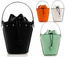WOMENS FAUX LEATHER STUD TOP HANDLE BUCKET DRAWSTRING CROSSBODY SHOULDER HANDBAG