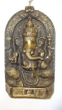 LOVELY VINTAGE ANTIQUE BRONZE GANESH ELEPHANT GOD PAN-HINDU WALL HANGING STATUE!