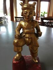 """Burmese gold gilt STANDING Buddha figure  8"""" """" TALL WOODEN CARVING TEAK WOOD"""