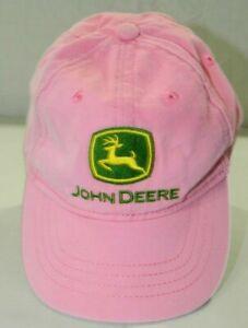 John Deere faded pink Toddler size hat cap elastic strap back