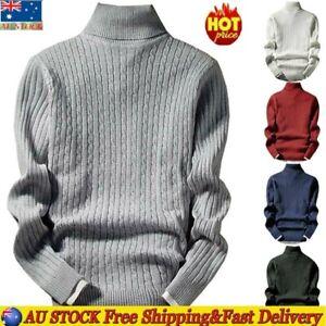 Mens Winter High Neck Turtleneck Knitted Jumper Sweater Long Sleeve Pullover