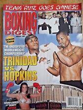 BOXING DIGEST MAGAZINE AUGUST 2001 TRINIDAD vs. HOPKINS COVER