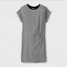 art class Striped Black & White Cap Sleeve Girls' M 7/8 T-Shirt Dress