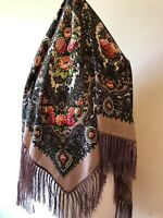 Authentic Russian Pavlovo Posad Style Wool Shawl With Tassels. Coffee Love
