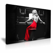 Sexy Lady Piano Red Dress Canvas Wall Art Picture Print 76cmx50cm