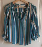 Maeve Anthropologie Womens Striped Byron Peasant Blouse Top Shirt Size Small