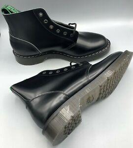 SOLOVAIR Black Hi-Shine 6 Eye Derby Boot, UK:10, EU:44.5, US:11, BNWB