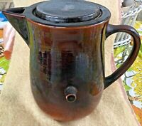 Vintage Red Wing Tipping Coffee Pitcher w Lid Brown Glaze Stoneware Pottery