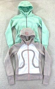 Lot of 2 Lululemon Scuba Hoodie II Sweater Jackets Mint Beige Womens Size 4