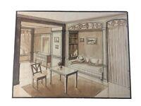 Tres Beau Dessin Original Architecture Encre Lavis Aquarelle Sur Papier Crayon