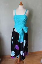Kleid Schleife türkis schwarz blau Vintage 70er Blumen Größe 34 XS / 36 S (K15)*