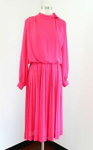 Vtg 80s 90s Henry Lee Hot Pink Pleated Long Sleeve Shirt Dress Size S / M Modest