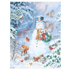 "24"" x 18"" SNOWMAN In The WOODS With Animals LIGHTED PRINT RAZ NEW FaBuLouS!"