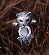 1Pc Jewelry Ring Adjustable Silver Plated Cute Little Matte Cat Shape Ring Party