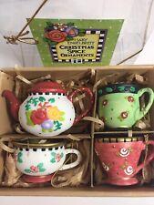 Nib Vtg 1990s Mary Engelbreit Christmas Spice Teacup Ornaments Shabby Chic Set/4