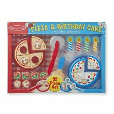 Melissa & Doug Wooden PIZZA AND BIRTHDAY CAKE Playset [32 Piece Set]