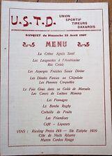 Banquet 1937 Menu w/Wine Listing- Union Sportif Tireurs Dakarois-Riesling Preiss