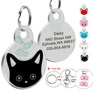 Personalised Engraved Cute Cat Face Kitten Cat Tag Pet Dog ID Tag Free Hair Bows