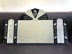 RARE Art Deco Venetian Glass Mirror Antique Silver Repousee Women Bell Flower