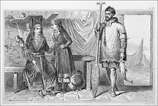 RUSSIA- VOTIAQUE WOMAN & HER SON, FISHERMAN OSTIAK - Engraving from 19th c.