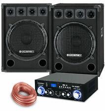 PA Anlage DJ Party Sound Lautsprecher Boxen Bluetooth Verstärker Kabel Set 1600W