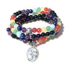 Handmade Natural Stones 7 Chakra Necklace w/ OM Symbol Pendant Mala US SELLER