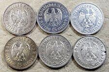 UNIQUE 6 x Full Mint Set 5 ReichsMark Hinderburgh 1936 Nazi Silver Coins Lot 3